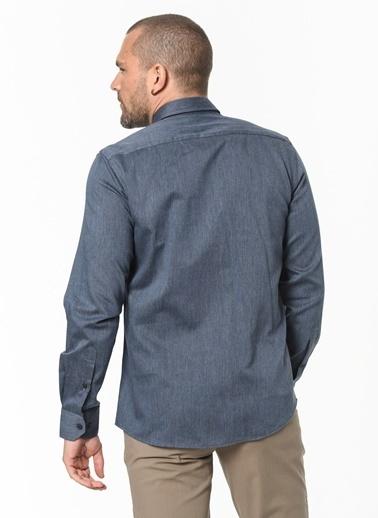 Beymen Business 4B2020100029 Lacivert Slim Fit Gömlek İpliği Boyalı Lacivert